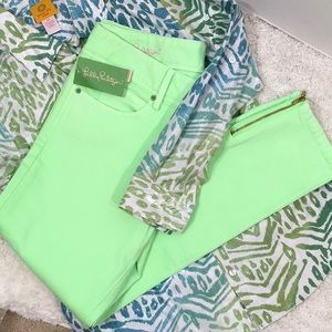 Lilly Pulitzer green Worth skinny mini zip jeans